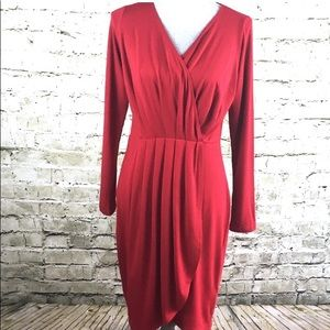 Karen Kane Long Sleeve Red Sheath Dress (Size M)